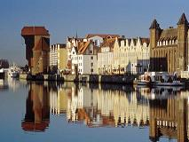 Gdansk water front with sea houses and medieval crane